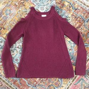 Loft   Plum Cold Shoulder Cotton Sweater Size XL